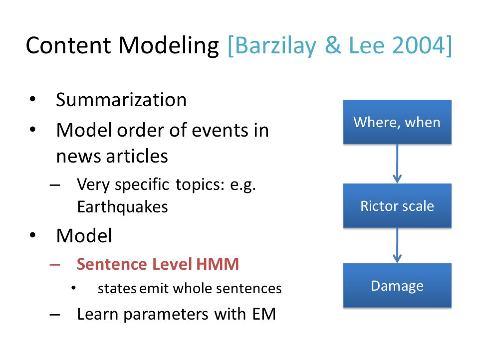 Content Modeling [Barzilay & Lee 2004]